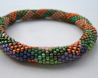 Bead Crochet Pattern:  Jigsaw Diamonds and Rectangles  Bead Crochet Bangle Pattern