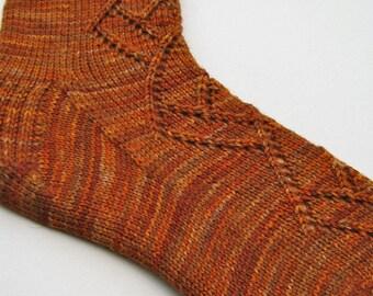 Knitted Sock Pattern:  Off Set Diamonds Knitting Sock Pattern