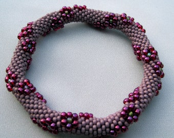 Bead Crochet Pattern:  Flowers Traveling Around Bead Crochet Bangle Pattern