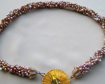 Bead Crochet Pattern: Pearl Bead Crocheted Necklace
