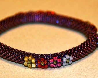Bead Crochet Pattern:  Flowers Squared  Bead Crochet Bangle Pattern