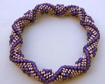 Bead Crochet Pattern:  Diamonds and Flowers Bead Crochet Bangle Pattern