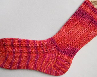 Knit Sock Pattern:  Honeycomb Ribbed Sock Knitting Pattern