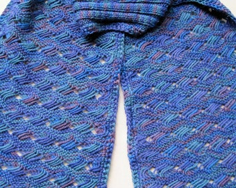 Knit Scarf Pattern:  Ocean Waves Turtleneck Scarf Knitting Pattern