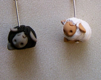 4 Snoring Sheep Stitch Markers:  Flock of 4 Pre-Shorn Snoozing Sheep Knitting Stitch Markers