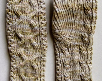 Knit Fingerless Mitts Pattern:  Medallion Cable Knit Mitts Pattern