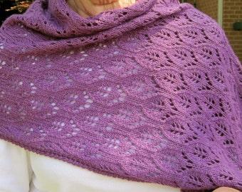 Knit Wrap Pattern:  Flower Lace Shawl Knitting Pattern