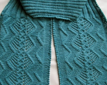 Knit Scarf Pattern:  Double Diamond Cable Lace Turtleneck Scarf