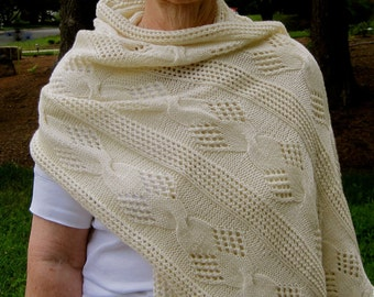 Knit Wrap Pattern:  Mesh and Cable Lace Shawl Knitting Pattern