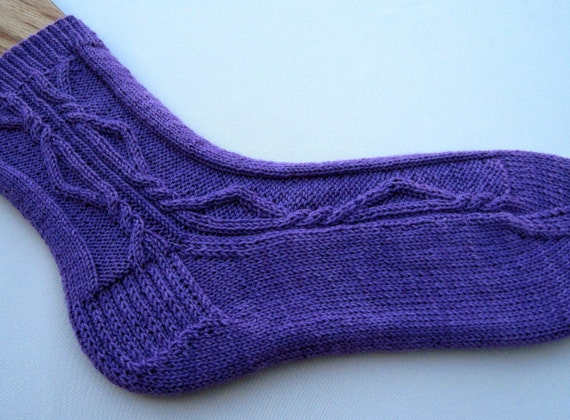Knit Sock Pattern:  One Side Only Side Cabled Sock Knitting Pattern