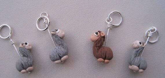 4 Alpaca Knitting Stitch Markers:  Herd of  Grey and  Brown Alpaca  Stitch Markers for Knitting