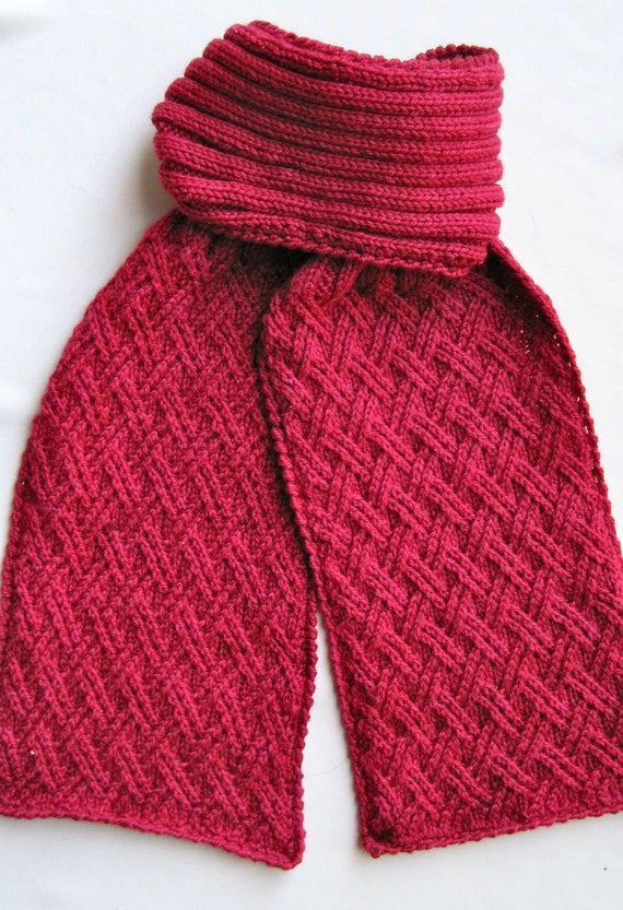 Knitting Pattern Twisted Scarf : Knit Scarf Pattern: Twisted Lattice Turtleneck Scarf Knitting