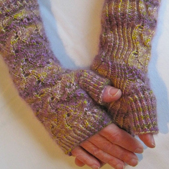 Hobo Gloves Knitting Pattern : Knit Fingerless Mitts Pattern: Lacy and Warm Fingerless Glove