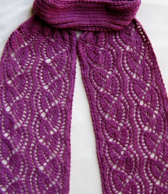 Knit Scarf Pattern: Dayflower Lace Turtleneck Scarf Knitting