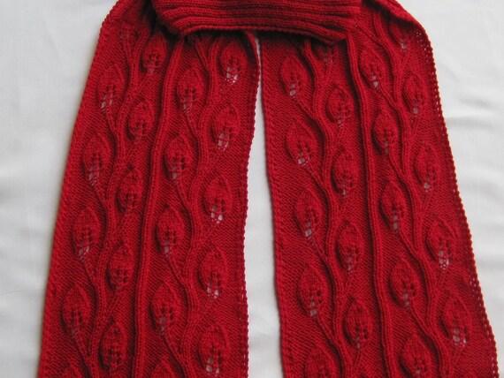 Knit Scarf Pattern:  Climbing Rose Vine Turtleneck Scarf