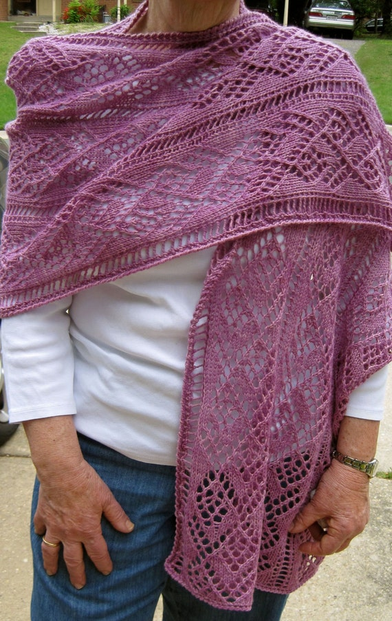 Knit Shawl Pattern: Ladder and Lace Light Wrap Knitting ...