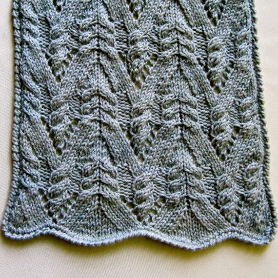 Knit Scarf Pattern: Cable Lace Mountain Turtleneck Scarf