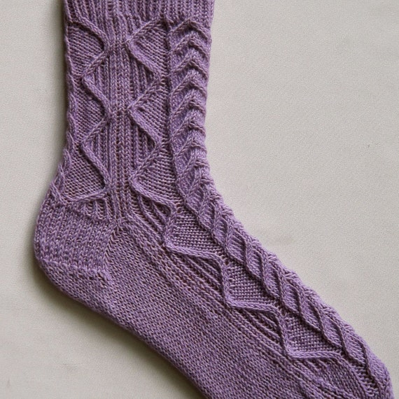 Cable Knit Sock Pattern : Knit Sock Pattern: Alpine Cable Sock Knitting Pattern