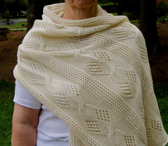Mesh Lace Knitting Pattern : Knit Wrap Pattern: Mesh and Cable Lace Shawl Knitting Pattern