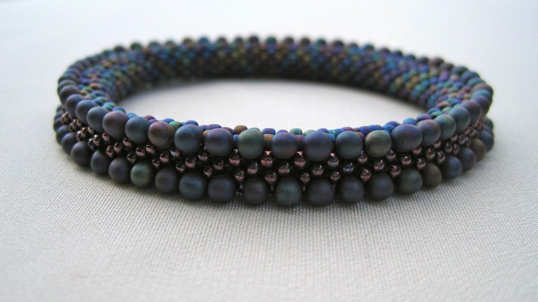Crochet Pattern With Beads : Bead Crochet Pattern: Blue Iris Double by WearableArtEmporium