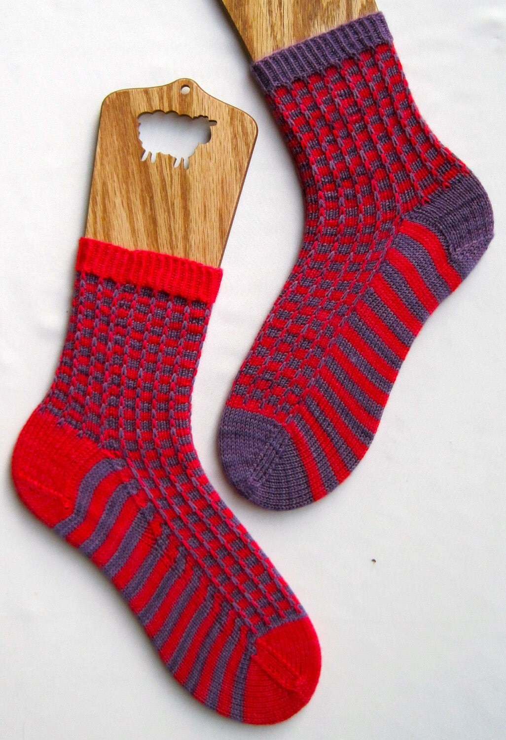 Knitting With Two Colors Patterns : Knit sock pattern two color mismatched by wearableartemporium
