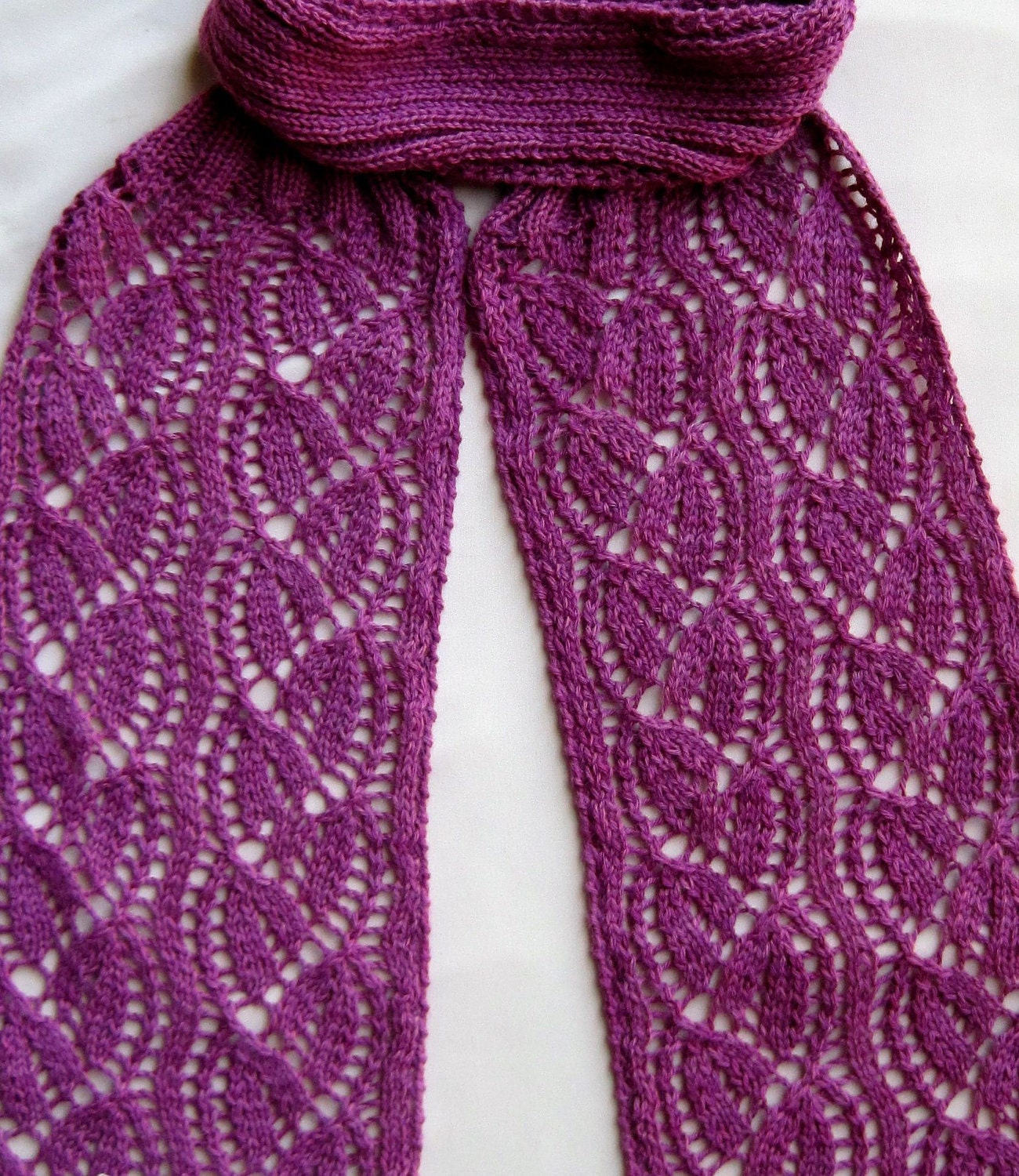 Lace Wool Knitting Patterns : Knit Scarf Pattern: Dayflower Lace Turtleneck Scarf Knitting