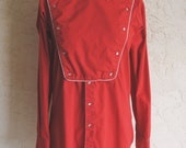 RESERVED FOR CARLOS Vintage 60s Red Western Bib Front Shirt - Unisex