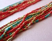 Multistrand Necklace in coral, golden and turquoise