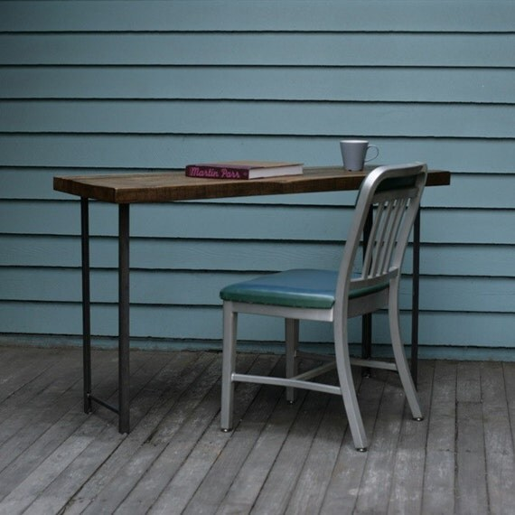 Compact Desk or Console Table - Reclaimed Wood and Iron