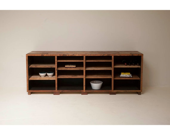Elegant and Minimal, Old Growth Credenza Handcrafted with Historic Timbers 'Hearst Cabinet'