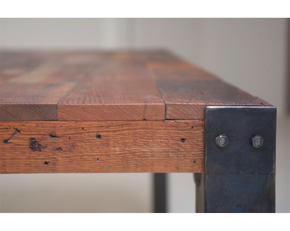 Items Similar To Bold Simplicity 39 Mt Shasta 39 Reclaimed Wood And Iron Dining Table On Etsy