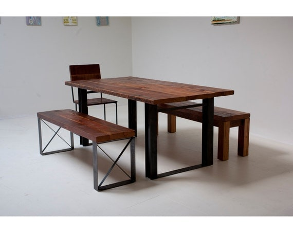 Bold Modern Reclaimed Iron & Wood 'Mt Whitney' Dining Table