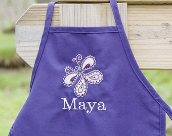 Personalized Mommy and Me Purple BUTTERFLY Matching Apron Set - ENGLISH