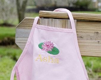 Personalized Kids Apron Pink LOTUS Cute - ENGLISH