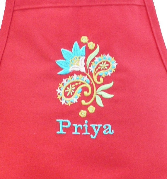 Personalized Kids Toddler Apron Red Flower Gorgeous - ENGLISH