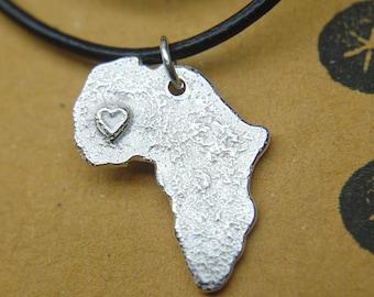 Africa necklace  Textured africa heart pendant Unisex pendant