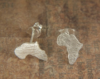 Africa earrings - sterling silver studs - Pendientes africa plata de ley