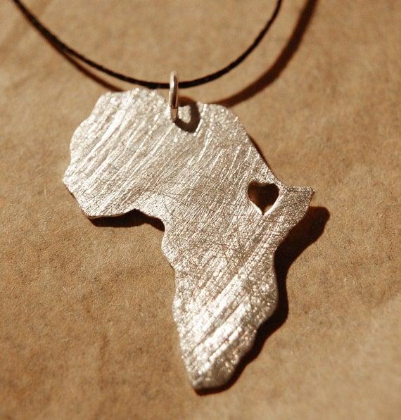 Africa Pendant Ethiopia Africa necklace  Adoption ethiopian necklace Africa Heart Pendant Collar áfrica etiopía