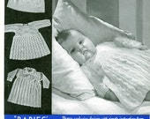 Bairnswear 119 Vintage Knitting Pattern Babies Dresses 9 to 12 Months - Four Dress Patterns
