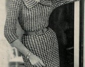 Vogue Knitting 1960 Deep Collar Dress Vintage Pattern Retro Mod Mad Men