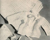 Vogue Knitting 1960 3 Piece Lacy Layette - Blanket, Saque & Bonnet Vintage Knitting Pattern