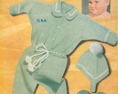 Emu 839 Vintage Knitting Pattern Pram Set - Suit, Cap & Mittens Patterns for 1 to 12 Months