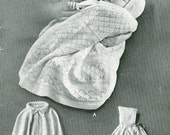 Patons 748 Vintage Knitting Pattern Infant Pram Cape with Pixie Hood or Collar PDF