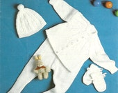 Patons 1791 Vintage Knitting Pattern PDF Baby Layette - Jacket, Leggins, Mitts, Hat