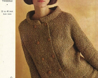 Emu 2466 Vintage Knitting Pattern Two Piece Retro 60's Mod Mad Men Suit