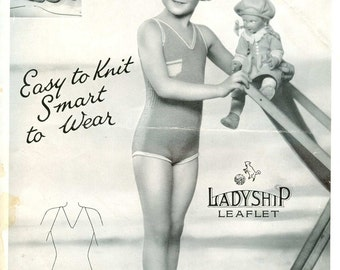 Ladyship 365 Vintage Knitting Pattern Child Sun and Swim Suit - 5 to 8 Years