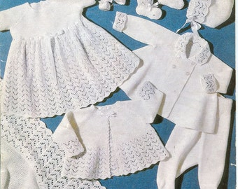 Sirdar 298 Vintage Knitting Pattern Baby Layette - Eight Pieces for Newborns