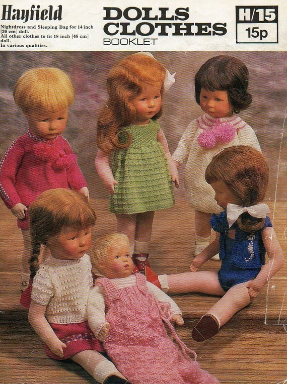 Hayfield H15 Vintage Knitting Patterns for 14in & 18in Dolls - Bathing Suit, Dress, Vest, Panties, Nightdress and Sleeping Bag