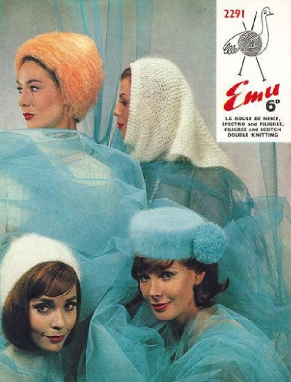 Emu 2291 Vintage Knitting Patterns Four 60's Mod Mad Men Winter Hat Patterns