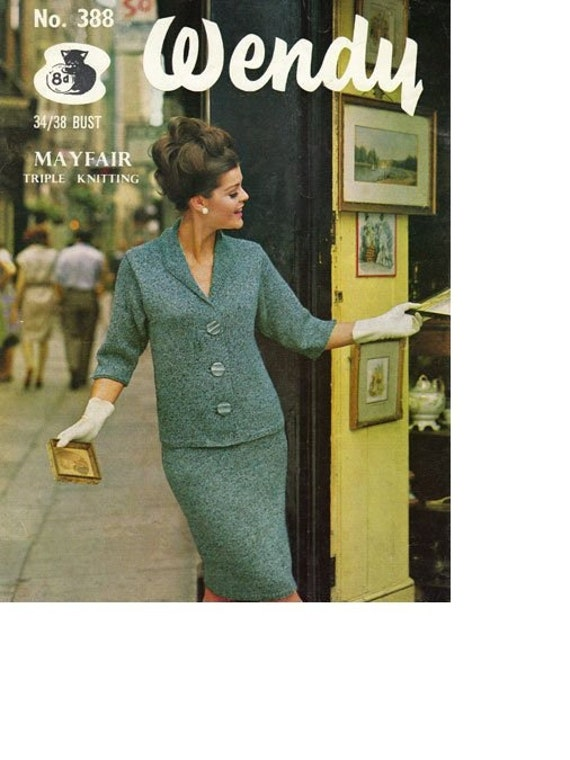 Wendy 388 Vintage Knitting Pattern Two Piece Retro 60's Mod Mad Men Suit